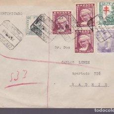 Sellos: F3-55- CERTIFICADO BILBAO 1946. BONITO FRANQUEO MULTICOLOR GOYA Y TUBERCULOSOS. Lote 165802034