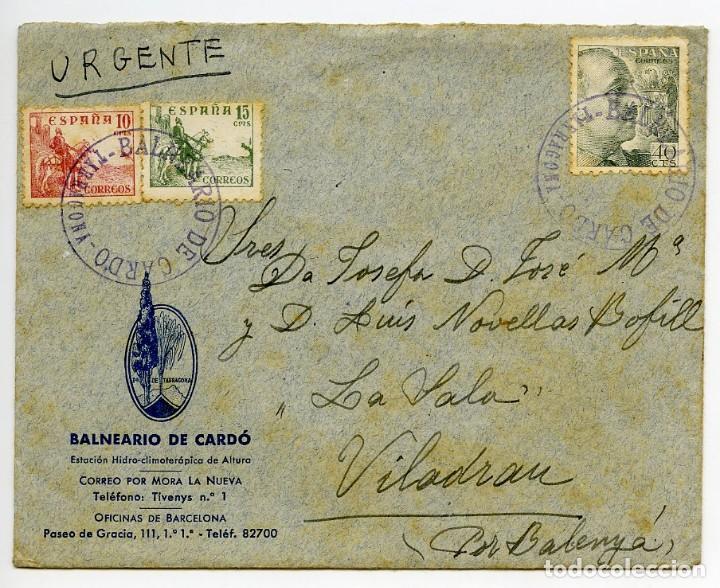BALNEARIO DE CARDÓ, BENIFALLET, TARRAGONA. SOBRE CON 2 CARTAS, MATASELLOS Y MEMBRETES DEL CARDÓ.1942 (Sellos - España - Estado Español - De 1.936 a 1.949 - Cartas)