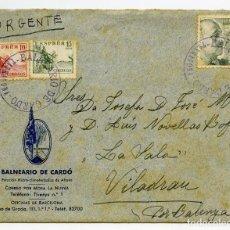 Sellos: BALNEARIO DE CARDÓ, BENIFALLET, TARRAGONA. SOBRE CON 2 CARTAS, MATASELLOS Y MEMBRETES DEL CARDÓ.1942. Lote 166621138