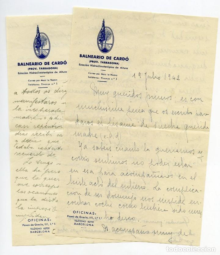 Sellos: Balneario de Cardó, Benifallet, Tarragona. Sobre con 2 cartas, matasellos y membretes del Cardó.1942 - Foto 2 - 166621138