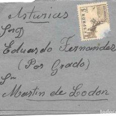 Sellos: ESTADO ESPAÑOL. FAJA DE PRENSA. EDIFIL 1044. DE MADRID A SAN MARTIN DE LODON OVIEDO. 1952. Lote 166704030