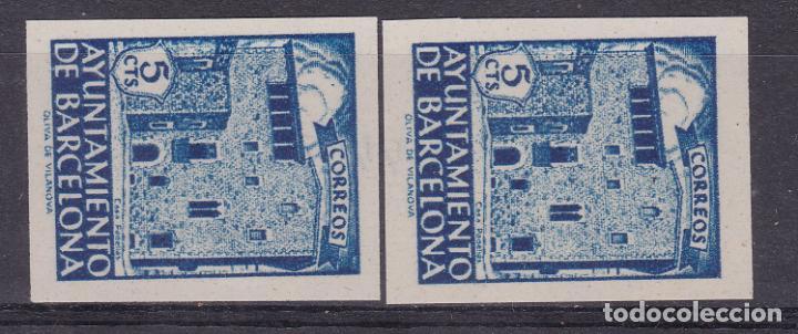 RR24- AYUNTAMIENTO BARCELONA SIN DENTAR. VARIEDAD. (*) SIN GOMA . LUJO. VER DORSO (Sellos - España - Estado Español - De 1.936 a 1.949 - Nuevos)