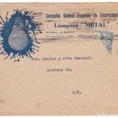 Sellos: CM1-24- CARTA IMPRESOS PUBLICIDAD BOMBILLA Y VIRGEN PILAR CON FRANCO BISECTADO SEVILLA 1940. Lote 167459180