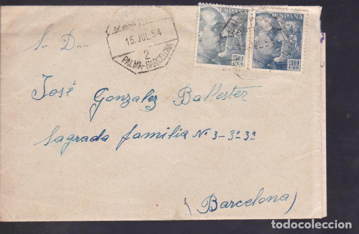CM1-33- CARTA PALMA MALLORCA- BARCELONA 1954. AMBULANTE MARITIMO 2 PALMA-BARCELONA (Sellos - España - Estado Español - De 1.936 a 1.949 - Cartas)