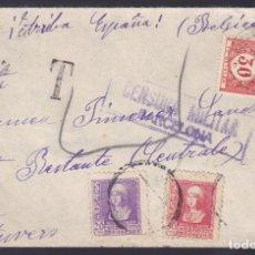 Sellos: CM1-33- CARTA BARCELONA- BELGICA 1939. TASADA. CENSURA Y HOMENAJE EJERCITO. Lote 167476068