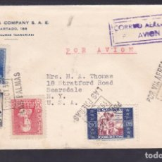 Sellos: CM1-33- CARTA LAS PALMAS -USA 1938. FAJA CENSURA Y BENÉFICO. Lote 167476184