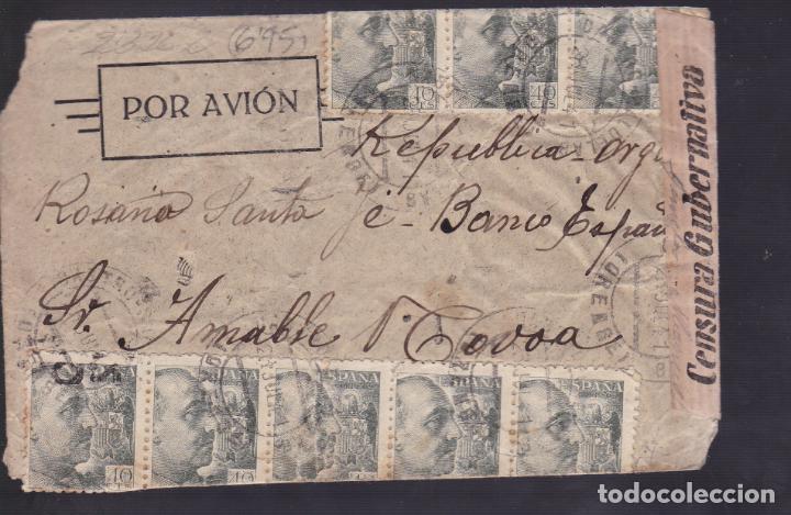 CM1-37- CARTA CASTRO CALDELAS (ORENSE)-ARGENTINA 1941. CENSURA. ESPECTACULAR FRANQUEO (Sellos - España - Estado Español - De 1.936 a 1.949 - Cartas)