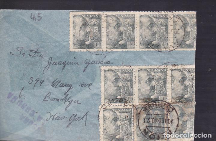 CM1-37- CARTA AVIÓN CORUÑA- N-YORK 1940- CENSURA . ESPECTACULAR FRANQUEO (Sellos - España - Estado Español - De 1.936 a 1.949 - Cartas)