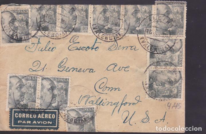CM1-38- CARTA ALCIRA (VALENCIA)- USA 1944- CENSURA . ESPECTACULAR FRANQUEO (Sellos - España - Estado Español - De 1.936 a 1.949 - Cartas)