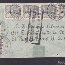 Sellos: CM1-39- CARTA BELMONTE (OVIEDO) 1944. CENSURA NO CATª . ESPECTACULAR FRANQUEO FRANCO 1PTS (4). Lote 167479636