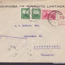 Sellos: CM1-56- CARTA CIª RIOTINTO. HUELVA -DINAMARCA 1937. FRANQUEO MIXTO, LOCAL. CENSURA. TRÁNSITO LISBOA. Lote 167484064