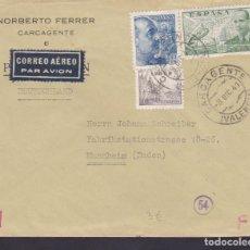 Sellos: CM1-56- CARTA CARCAGENTE (VALENCIA)-ALEMANIA 1941. CENSURAS Y FAJA CENSURA ALEMANA. Lote 167484092