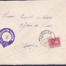 Sellos: CM1-61- CARTA PORCUNA (JAÉN).1938. LOCAL Y CENSURA MODIFICADA. Lote 167484960