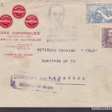 Sellos: CM1-63- CARTA FÁBRICA DE ALCOHOLES MORATA DE JALÓN (ZARAGOZA) 1939. CENSURA Y HOMENAJE EJÉRCITO. Lote 167485096