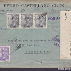 Sellos: CM1-66- CARTA PEDRO CASTELLANO LAS PALMAS-LONDRES 1940. CENSURAS. 2 FAJAS DE CIERRE. Lote 167485224