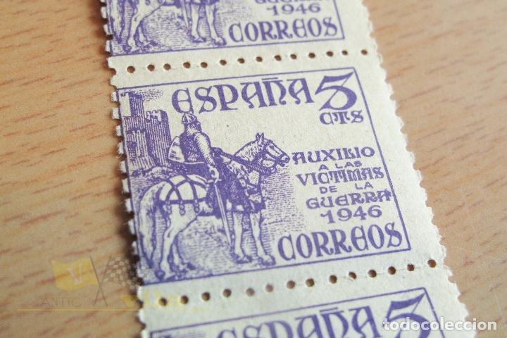 Sellos: Tira de Sellos 5 cts - Auxilio a las victimas de la guerra - Violeta - 1946 - No Usados - Foto 3 - 167801528