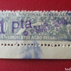 Sellos: CNS. SINDICATOS AGRO-PECUARIOS. VIÑETA REMARCADA 1 PTA.. Lote 168219177