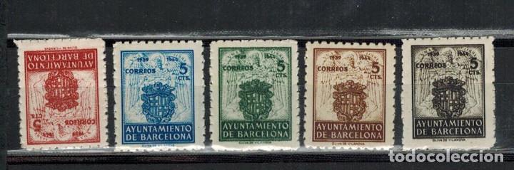 EMISION BARCELONA 5 VALORES ESCUDOS 1944 (Sellos - España - Estado Español - De 1.936 a 1.949 - Nuevos)