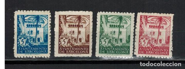 EMISION BARCELONA 4 VALORES CASA DEL ARCEDIANO 1945 (Sellos - España - Estado Español - De 1.936 a 1.949 - Nuevos)