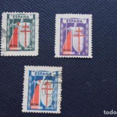 Sellos: 3 SELLOS CRUZ DE LORENA PRO TUBERCULOSOS AÑO 1943. Lote 169449104