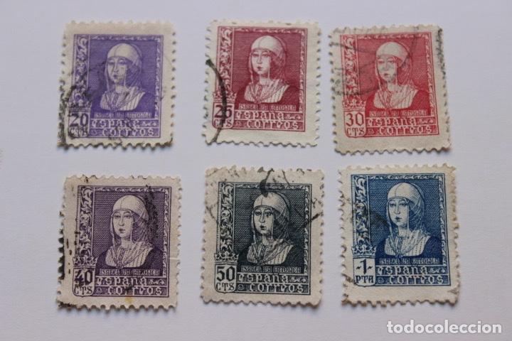 SERIE 6 SELLOS ISABEL LA CATÓLICA AÑO 1938-39 (Sellos - España - Estado Español - De 1.936 a 1.949 - Usados)
