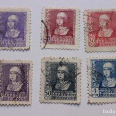Sellos: SERIE 6 SELLOS ISABEL LA CATÓLICA AÑO 1938-39. Lote 169451744