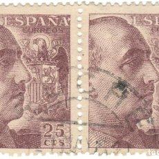 Sellos: PAREJA DE SELLOS / ESPAÑA - GENERAL FRANCO Y ESCUDO DE ESPAÑA / EDIFIL 1048A. Lote 170051404