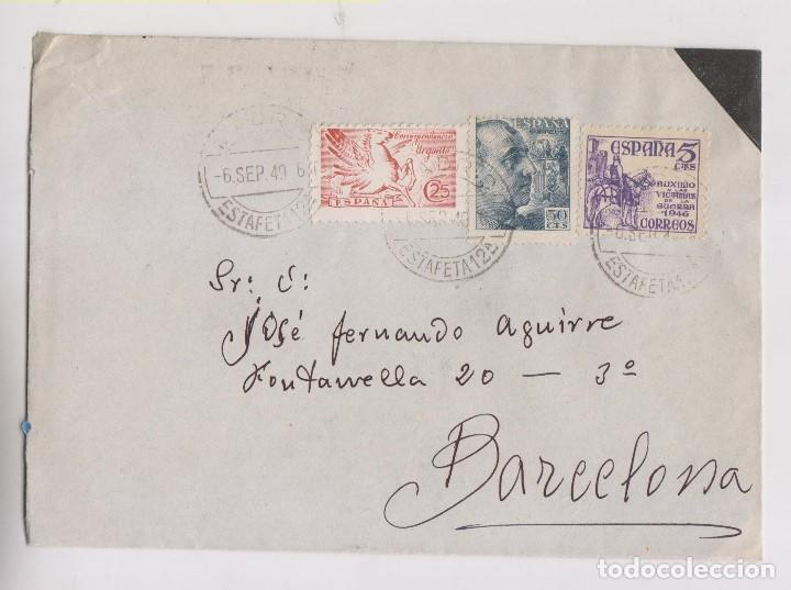 SOBRE. URGENTE. MADRID A BARCELONA. 1949. CONSERVA CARTA. (Sellos - España - Estado Español - De 1.936 a 1.949 - Cartas)