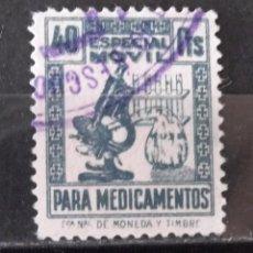 """Sellos: TIMBRES FACTURAS RECIBOS, USADO, 40 CTS. """"ESPECIAL MÓVIL"""" MEDICAMENTOS…. Lote 170932460"""