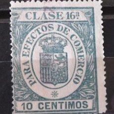 """Sellos: TIMBRES FACTURAS RECIBOS, USADO, 10 CTS. """"PARA EFECTOS DEL COMERCIO"""". Lote 170933110"""