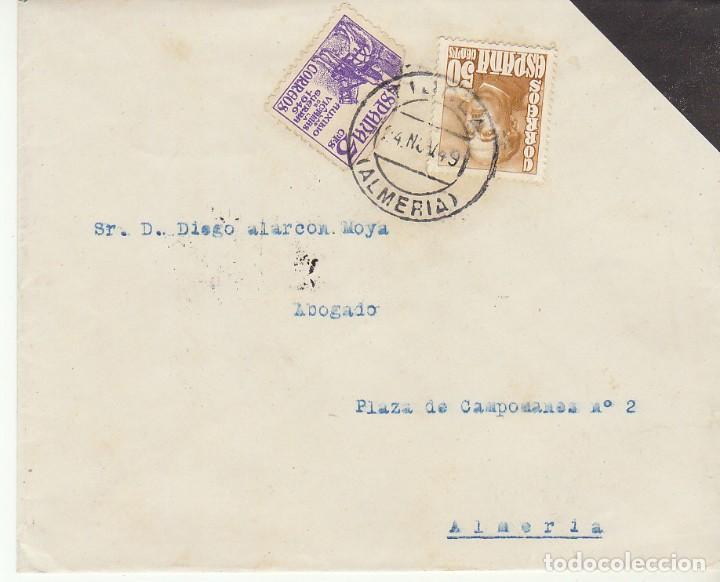 LUTO: TIJOLA A ALMERIA. 1949 (Sellos - España - Estado Español - De 1.936 a 1.949 - Cartas)