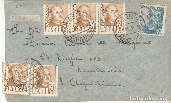 MADRID A RESISTENCIA(ARGENTINA). 1951. (Sellos - España - Estado Español - De 1.936 a 1.949 - Cartas)