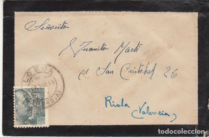 LUTO: LORCA (MURCIA) A RIOLA (VALENCIA). 1941. (Sellos - España - Estado Español - De 1.936 a 1.949 - Cartas)