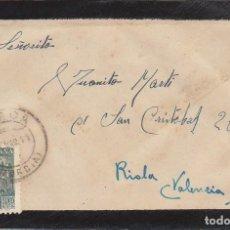 Sellos: LUTO: LORCA (MURCIA) A RIOLA (VALENCIA). 1941.. Lote 171051992