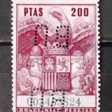 Sellos: PÓLIZAS, 200 PTAS., USADO. PERFORACIÓN BU (BANCO URQUIJO).. Lote 171175862