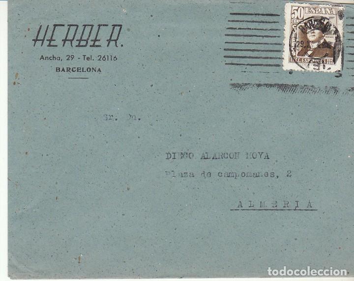 SELLO 1037. BARCELONA A ALMERIA. 1948. (Sellos - España - Estado Español - De 1.936 a 1.949 - Cartas)