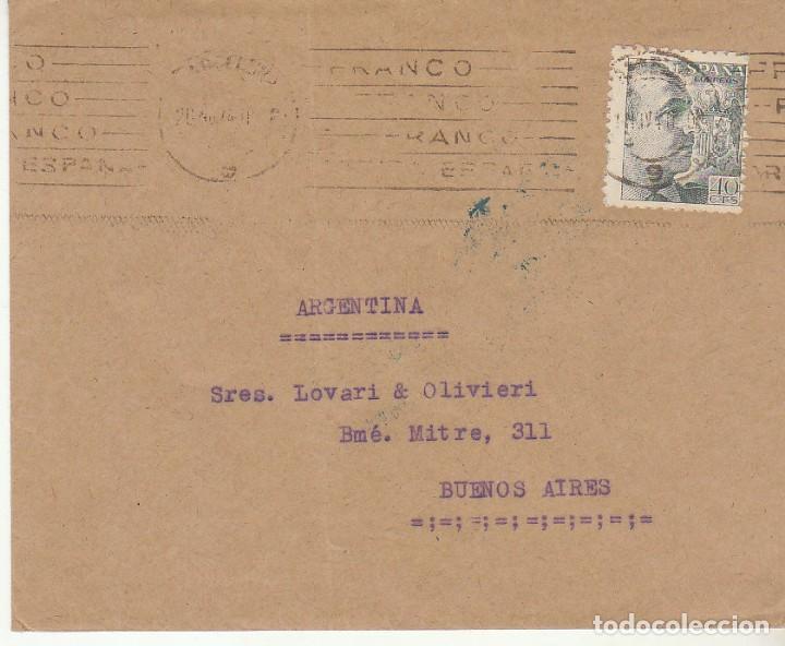 SELLO 925. D.G.S. CENSURADO: BARCELONA A BUENOS AIRES (ARGENTINA) (Sellos - España - Estado Español - De 1.936 a 1.949 - Cartas)