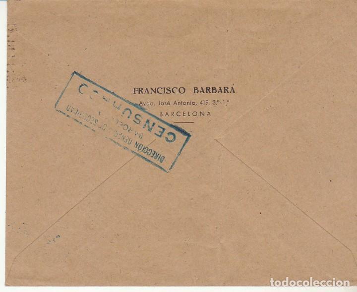 Sellos: Sello 925. D.G.S. CENSURADO: BARCELONA a BUENOS AIRES (ARGENTINA) - Foto 2 - 171539505