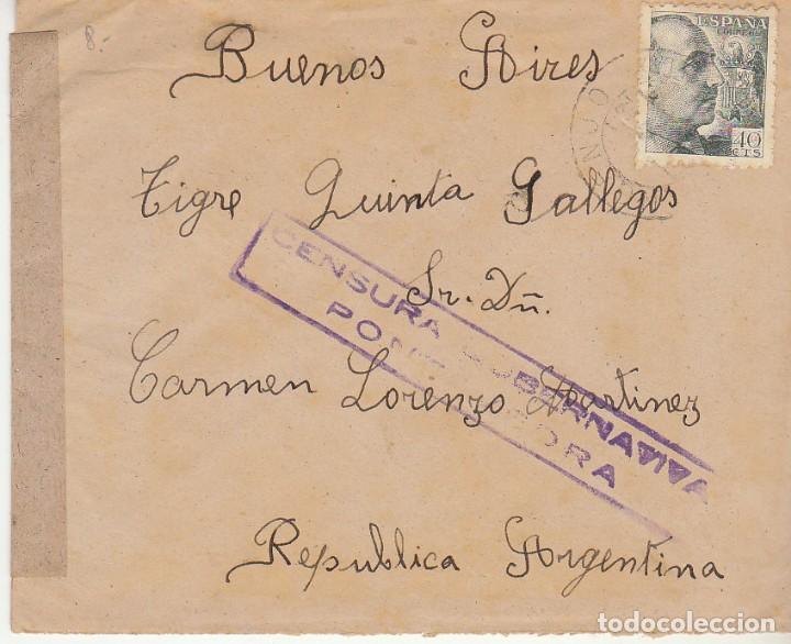 CENSURA : SELLO 925. PORTONOVO (PONTEVEDRA)A BUENOS AIRES (ARGENTINA) (Sellos - España - Estado Español - De 1.936 a 1.949 - Cartas)
