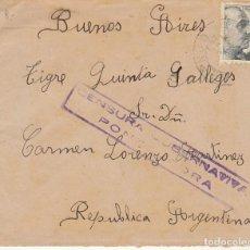 Sellos: CENSURA : SELLO 925. PORTONOVO (PONTEVEDRA)A BUENOS AIRES (ARGENTINA). Lote 171540098