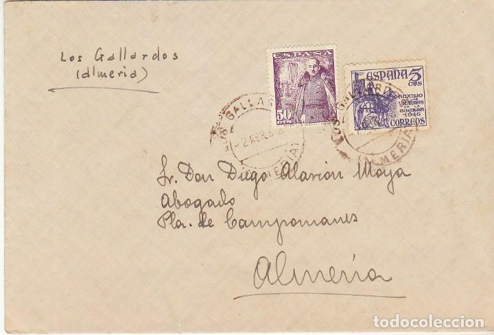 LOS GALLARDOS A ALMERIA. (Sellos - España - Estado Español - De 1.936 a 1.949 - Cartas)