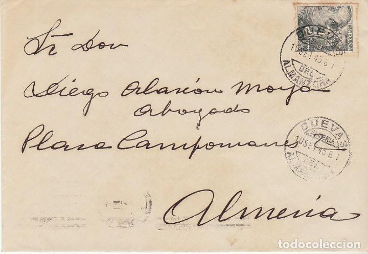 CUEVAS DEL ALMANZORA A ALMERIA. 1945. (Sellos - España - Estado Español - De 1.936 a 1.949 - Cartas)