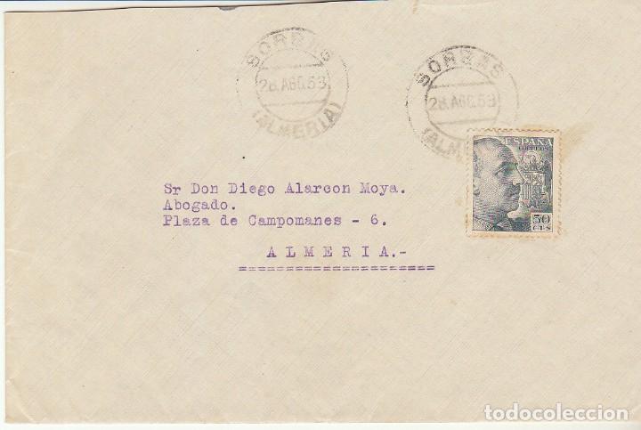 SORBAS A ALMERIA . 1953. (Sellos - España - Estado Español - De 1.936 a 1.949 - Cartas)