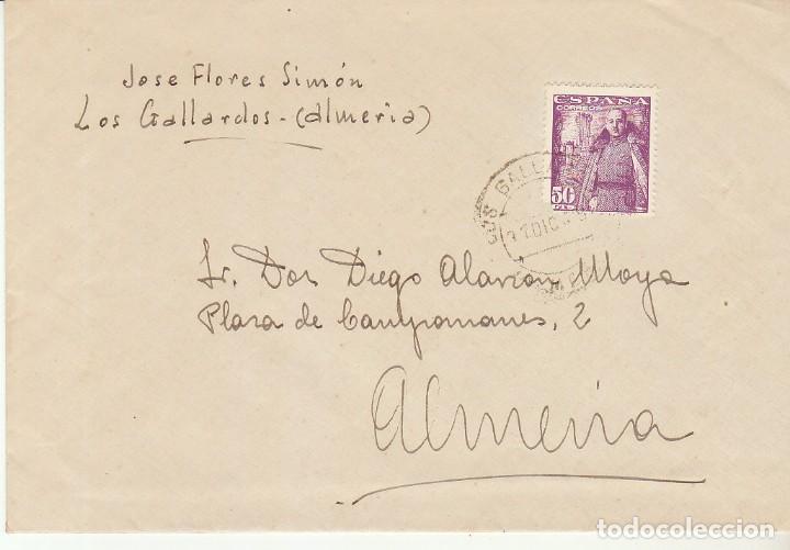 LOS GALLARDOS A ALMERIA. 1948. (Sellos - España - Estado Español - De 1.936 a 1.949 - Cartas)