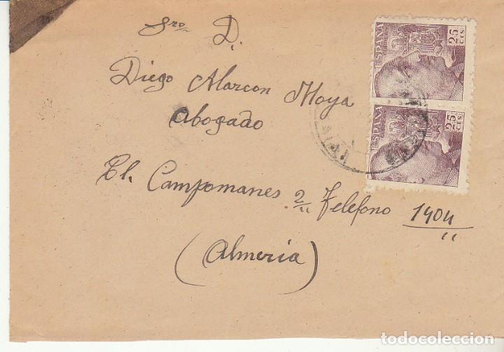 LUTO: SORBAS A ALMERIA. 1948. (Sellos - España - Estado Español - De 1.936 a 1.949 - Cartas)