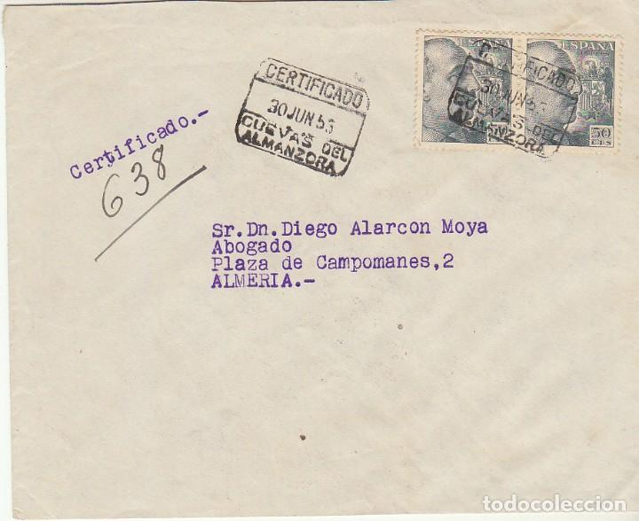 CUEVAS DE ALMANZORA A ALMERIA.1953. (Sellos - España - Estado Español - De 1.936 a 1.949 - Cartas)