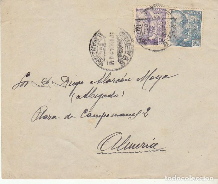 CUEVAS DE ALMANZORA A ALMERIA.1952. (Sellos - España - Estado Español - De 1.936 a 1.949 - Cartas)