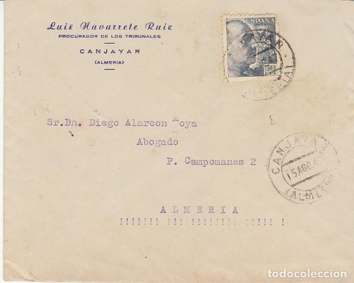 CANJAYAR A ALMERIA. 1947. (Sellos - España - Estado Español - De 1.936 a 1.949 - Cartas)