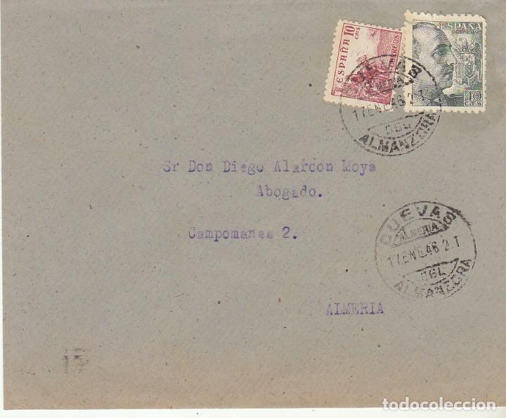 CUEVAS DEL ALMANZORA A ALMERIA. 1946. (Sellos - España - Estado Español - De 1.936 a 1.949 - Cartas)