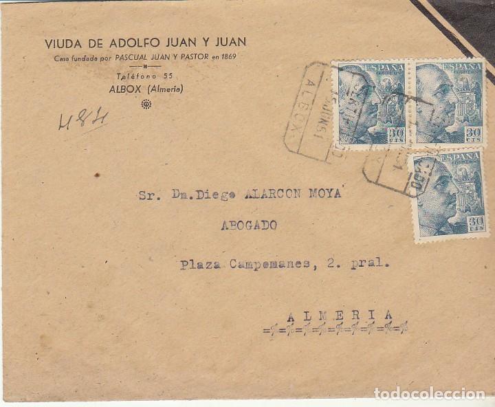 LUTO: ALBOX A ALMERIA. 1951. (Sellos - España - Estado Español - De 1.936 a 1.949 - Cartas)
